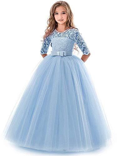 IBTOM CASTLE Blumensmädchenkleid Prinzessin Festliches Kinder Mädchen Kleid Festzug Kleider Hochzeit Partykleid Blau 11-12 Jahre