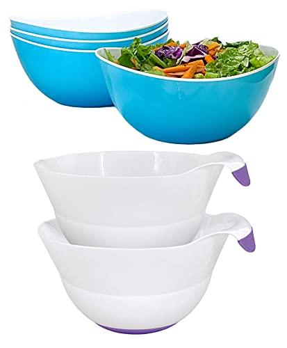 Honla Set of 4 Blue Salad Bowls Bundle with Set of two Purple Mixing Bowls (2 Items)