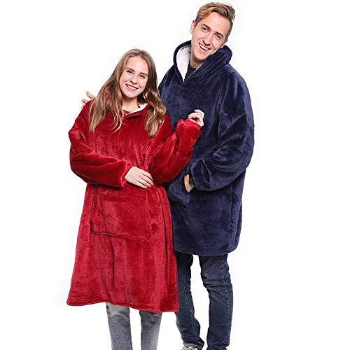 SGAHEIWI Outdoor Kapuzen Sweatshirt Hoodie Warme Mäntel Tilt Hoodie Bademantel Pullover Wollpullover Decke Für Männer Und Frauen, Bule, Einheitsgrösse