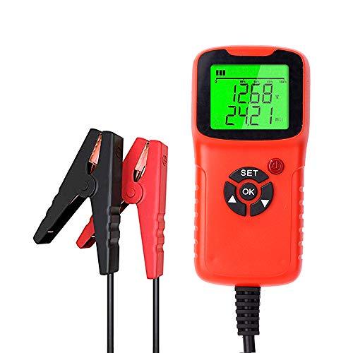 Gecheer Comprobador de Baterias de Coche, Probador de Batería de Coche 12V 2000CCA Prueba de Voltaje de Batería Circuito de Carga Probador de Carga Diagnóstico Automático (Rojo)