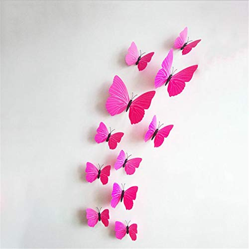 Generic Xufeisac 12 Pcs Simulation 3D Stereo Butterfly Wall Stickers, Color Butterfly Wall Sticker for Home Improvement
