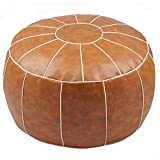 ZEFEN Decorative Pouf Foot Stool Round Unstuffed Leather Ottoman Cushion Storage seat or for Resting Your Feet on , Floor Chair Foot Living Room Bedroom Kids Room and Wedding (Brown)