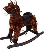 Small Foot 11717 Caramel, Cheval à Bascule Brun avec Son, à partir de 3 Ans Toys
