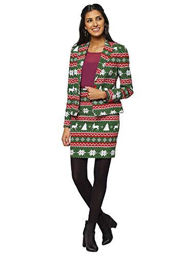 Generique - Kerstvrouw Opposuits pak dameskostuum groen-rood-wit