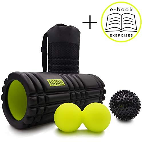 Kalahari Faszienrolle Set - Foam Roller, Duoball, Igelball zur Selbstmassage und Faszientraining. Praktische Taschen und E-Book Übungen auf Deutsch