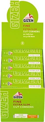 Gizeh Zigarettenpapier 411110018 Fine Slim Kurzes Papier extra schmal, Flachshanf, 50 Heftchen x 66 Blättchen, Rot, M
