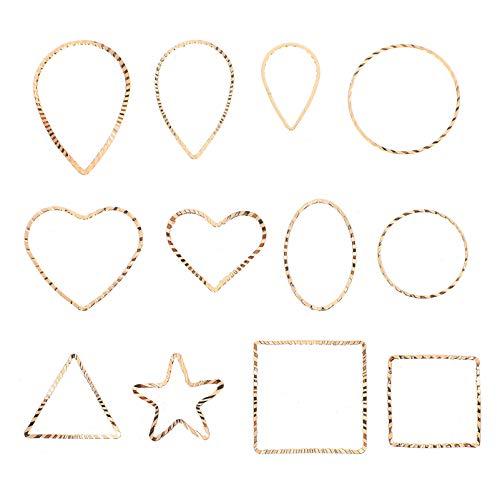 EXCEART 48 Piezas Colgante Geométrico Triángulo Cuadrado de Metal Lágrima Corazón Estrella Dijes Joyería Colgante Dijes para Manualidades Pulsera Collar Fabricación de Joyas Accesorios