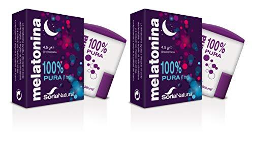 Soria Natural - Melatonina - Complemento alimenticio - Regulacion del sueño, insomnio - 90 comprimidos 1 mg cada comprimido - Jet-lag - Antiedad (PACK2)