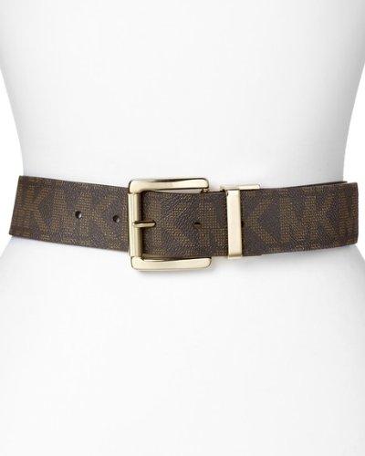 Michael Kors Mk Signature Monogram Logo Gold Buckle Belt Brown Size Large