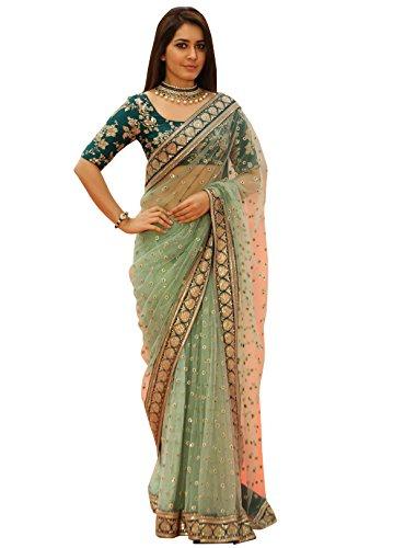 Delisa Fashion Womens Saree Sari Designer Indian Dress Bollywood Ethnic Party Royal Blue