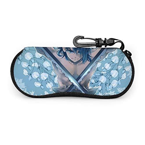 Kimetsu no Yaiba - Funda protectora para gafas de viaje portátil con cremallera de neopreno suave para gafas con cremallera y gancho para cinturón antirrobo