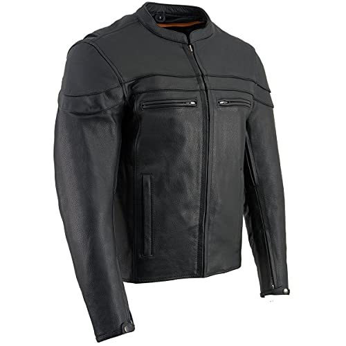 Milwaukee Leather SH1408 Men's Sporty Crossover Vented Black Leather Scooter Jacket - X-Large