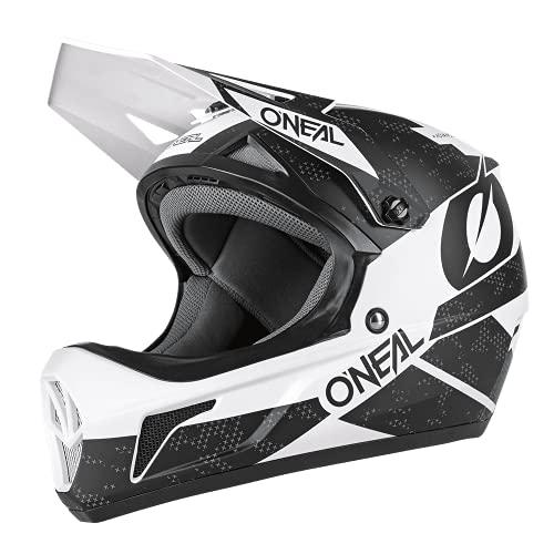 O'NEAL | Mountainbike-Helm Fullface | MTB DH Downhill Freeride | ABS-Schale, Magnetverschluss, übertrifft Sicherheitsnorm EN1078 | SONUS Helmet DEFT | Erwachsene | Schwarz Weiß | Größe M