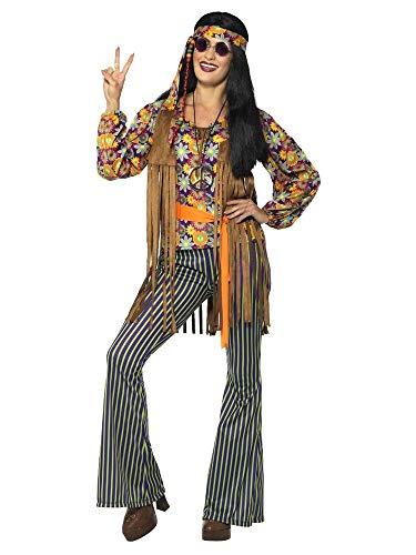 shoperama Disfraz de hippie de los aos 60 para mujer, con pantaln, blusa, chaleco, cinta para la cabeza, cinturn y cinturn, diseo de los aos 70, flores y Power Festival, talla: M
