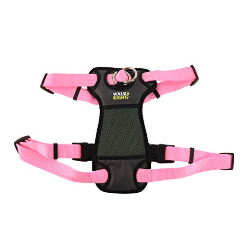 Coastal - Walk Right - Front-Connect Padded Dog Harness, Pink Bright, MED (20
