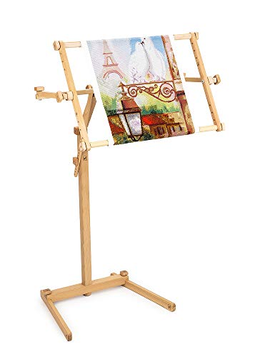 Needlework Floor-Standing Type Stand with Adjustable Frame Made of Organic Beech Wood Tapestry Cross Stitch Embroidery Frame Holder (15.7