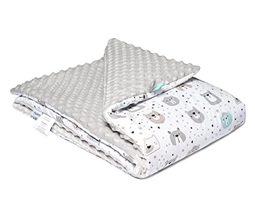 FlyIdeas Manta Recien Nacido Minky | Edredón para Cuna Minicuna de Bebes | 100% Algodon Certificado OEKO-TEX - Cute Bears, 75x100 cm