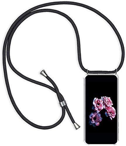 Handykette Handyhülle für Samsung Galaxy A7 2018 mit Band - Handy-Kette Handy Hülle mit Kordel zum Umhängen Handyanhänger Halsband Lanyard Case-Schwarz