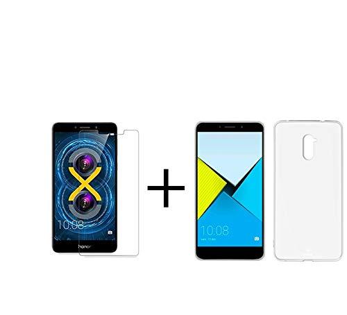 MB Accesorios Pack Protector Cristal Templado Transparente + Funda Transparente Huawei Honor 6X