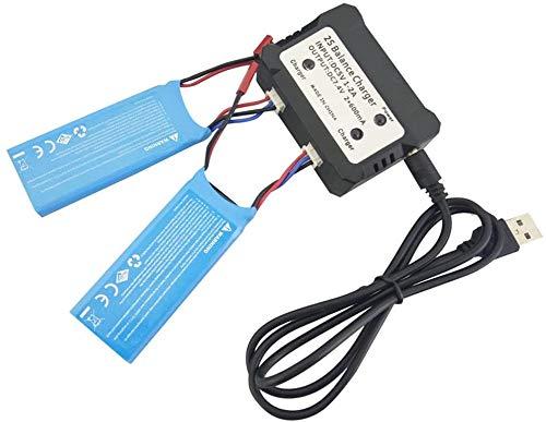 Fytoo 2stuks 7.6 V 750mAh Lipo-batterij met 2 in 1 oplader voor Hubsan H216A RC Quadcopter Drone batterij Onderdelen