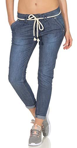 Stitch & Soul Damen Ankle-Boyfriend Jeans Hose LSS-094 mit Kordel-Gürtel Middle Blue M
