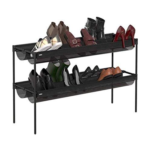 Diaod Sencilla de 2 Niveles apilable Zapatero, Zapato Ajustable Estante del Organizador del almacenaje, Negro
