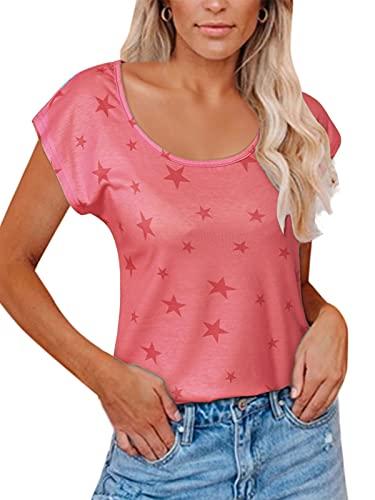 YOINS Koszulka damska z długim rękawem, na lato, jesień, okrągły dekolt, z gwiazdkami