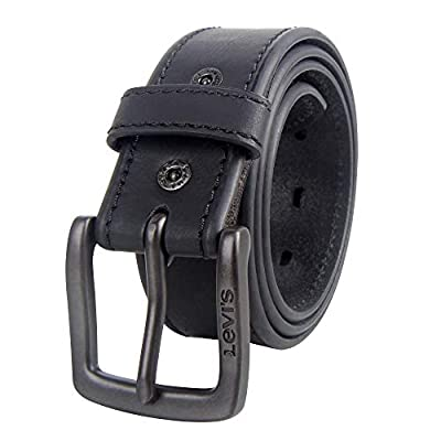 Levi's Casual Belt-Dress for Men Jeans with Thick Strap andBuckle, Matte black, Large (38-40)