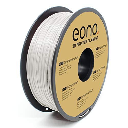 Amazon Brand- Eono, filamento per stampa 3D antiaggrovigliamento, materiale PETG, 1,75 mm(± 0.03 mm), 1kg. bianco,non diventa fragile.