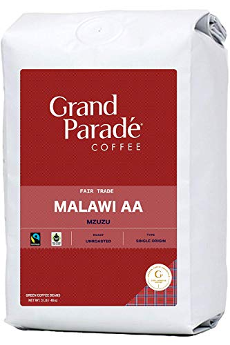 Grand Parade Coffee, 3 LB Unroasted Coffee Beans - Malawi AA Mzuzu Single Origin - Geisha, Bourbon Variety - High Altitude Specialty Arabica - Fair Trade - Fresh Raw Green Coffee - 3 Pound Bag