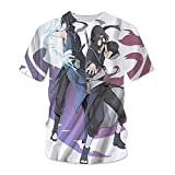 hengshukeji Naruto Sasuke Itachi Camiseta Verano de Manga Corta 3D patrón Masculino Pareja Japonesa Camisa Suelta Hombres Camisa de Manga Media Ropa de Clase Marea RR0794-Negro_XXXL