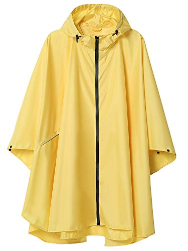 Summer Mae Regen Poncho Jacke Mantel für Erwachsene mit Kapuze wasserdicht mit Reißverschluss im Freien,Einheitsgröße,Gelb-1
