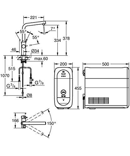 Grohe Blue Home Duo – 2-in-1 Trinkwassersystem und Küchenarmatur (gekühlt, gefiltert, mit Kohlensäure, L-Auslauf) 31454000 - 5