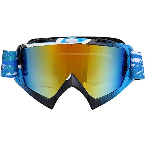YINAIER Gafas De Ciclismo De Montaña, Gorras De Ciclismo, Gafas De Sol Deportivas A Prueba De Viento, Ciclismo, Esquí, Equitación, Gafas De Motocicleta (Marco Arcoíris + len Plateado)