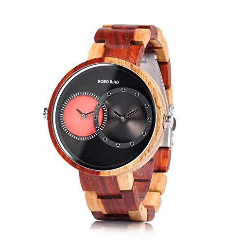 BOBO BIRD R10 Herren Damen Unisex Holzuhr Uhren 2 Zeitzone Holzuhren Leichte Quarz Armbanduhren (Rot)