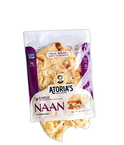 Atoria's Family Bakery Garlic Naan bread │ Vegan │ Perfect sandwich bread, pizza crust or hamburger buns │ Full case│ 8 packs of 2 flatbread │16 pieces of bread