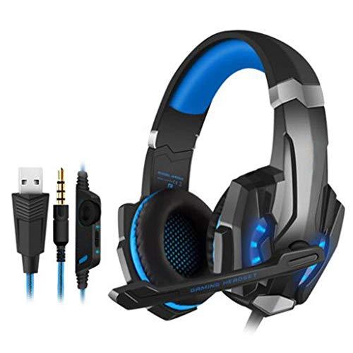 HAOSHUAI bekabelde hoofdtelefoon, koptelefoon met draaibare ruisonderdrukking microfoon en volumeregeling voor PS4, Nintendo Switch, PC, laptop, Mac, rood (kleur: blauw)