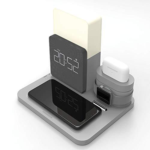 LAHappy Cargador Inalámbrico Rápido Reloj Luz Nocturna 5 en 1, Qi Compatible Cargador Rápido Inducción para iPhone 12/12 Pro/11 Pro Max/XR/XS/X/8/8 Plus iWatch Series AirPods,Gris