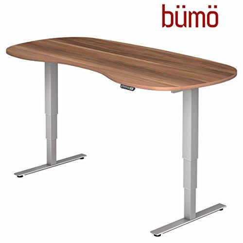 bümö® ergonomischer Schreibtisch elektrisch höhenverstellbar | elektrischer Bürotisch | höhenverstellbarer Büroschreibtisch mit Memoryfunktion in Nierenform: 200x100 cm Zwetschge