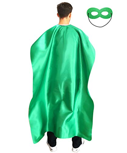 Adult Superhero Cape and Mask for Man and Woman - Dress Up Superhero Costume for Party or Vacation Bibble School (Green)
