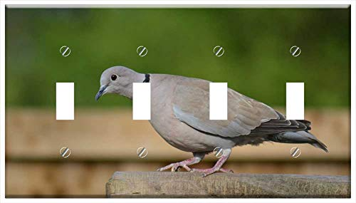 Switch Plate 4 Gang Toggle - Ring-Neck Dove Streptopelia Capicola Cape Dove Bird