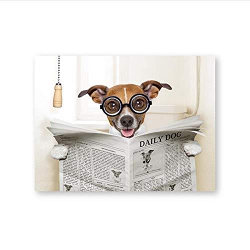 Zhaoyangeng Póster artístico de lona para perro, loco sentado en el inodoro y la lectura, pintura para revistas, decoración de pared, cuarto de baño, 50 x 70 cm, sin marco