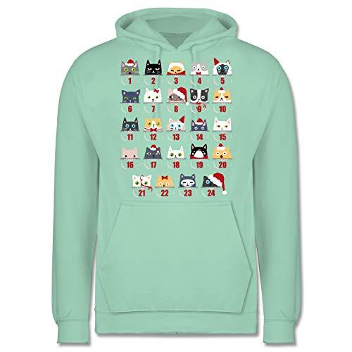 Weihnachten & Silvester - Katzen Adventskalender - XL - Mint - adventskalender Herren - JH001 - Herren Hoodie und Kapuzenpullover für Männer
