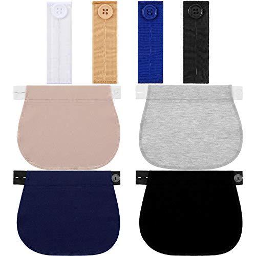 8 Piezas Extensores de Pantalones de Maternidad Extensores de Botón de Pantalón Elástico Extensor de Cintura Ajustable para Embarazo Mujer Hombre Jeans Pantalones Braga (Multicolores)