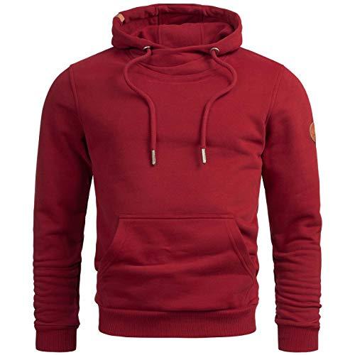 A. Salvarini Herren Sweat Kapuzenpullover Hoodie Kapuze Sweater AS294[AS-294-Bordeaux-Gr.L]