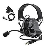 TAC-Sky Comta II - Auriculares tácticos con reducción de ruido para actividades de airsoft, color gris
