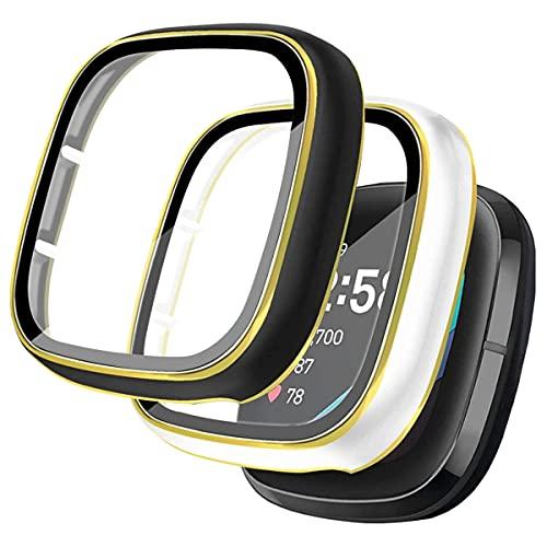 Quanerba Funda Compatible con Fitbit Sense/Versa 3, [2 Piezas] Protector de Pantalla, Borde de Dos Colores Cobertura Completa Cubierta Cover Case para Sense/Versa 3 (Borde Dorado)