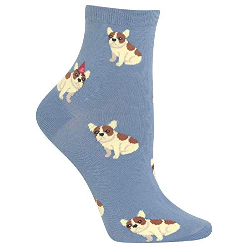HOTSOX Womens Birthday Frenchie Socks 1 Pair, Slate, Shoe Size: 9-11
