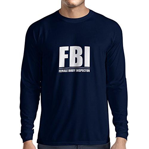 Camiseta de Manga Larga para Hombre Inspector del Cuerpo Femenino - Regalos Divertidos para los Hombres, Citas chistosas (XX-Large Azul Blanco)