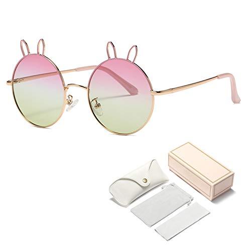 Qianghua Gafas de Sol polarizadas para niños Orejas de Conejo Redondas de Metal Gafas de Sol de Verano para niñas y niños para Edades de 5 a 13 años,D